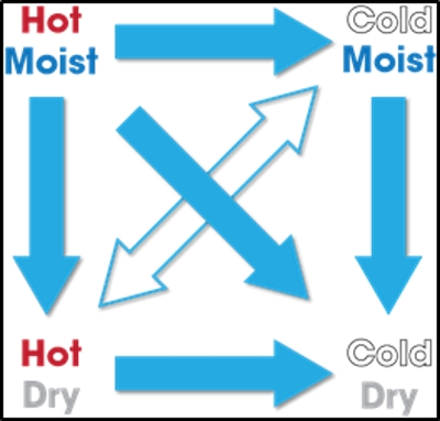 Shown is a graphic example of the second law of thermodynamics as it relates to heat and moisture.