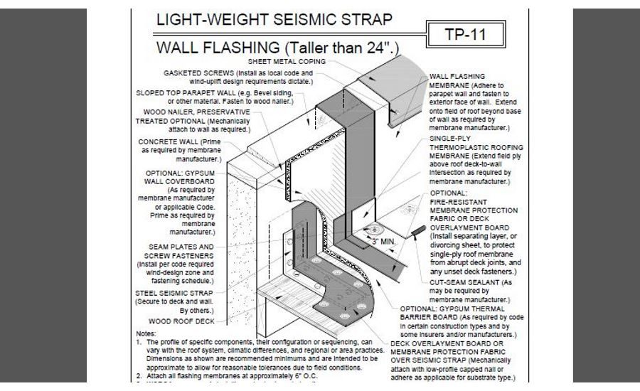 Roofing Detail Light Weight Seismic Strap Wall Flashing