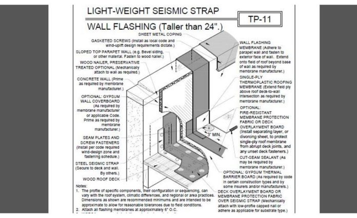 Roofing Detail: Light-Weight Seismic Strap Wall Flashing