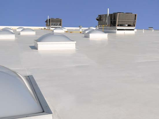 Single-ply membrane roof.